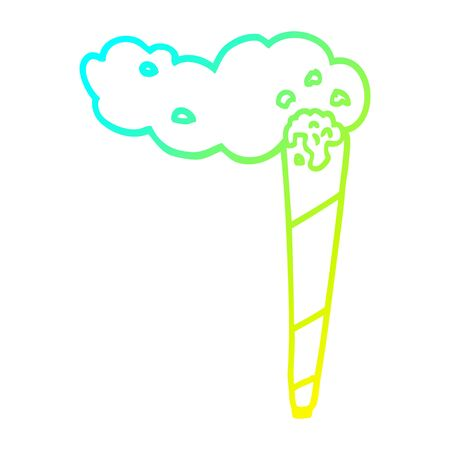 cold gradient line drawing of a cartoon joint Illustration