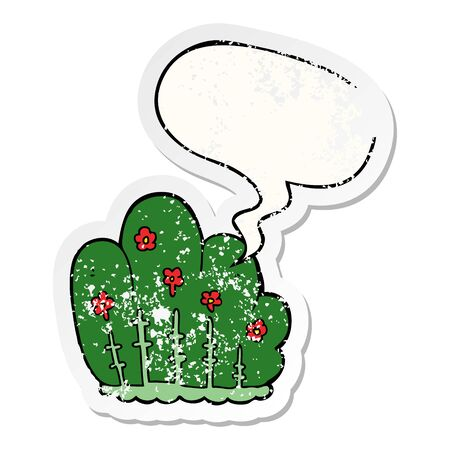cartoon hedge with speech bubble distressed distressed old sticker
