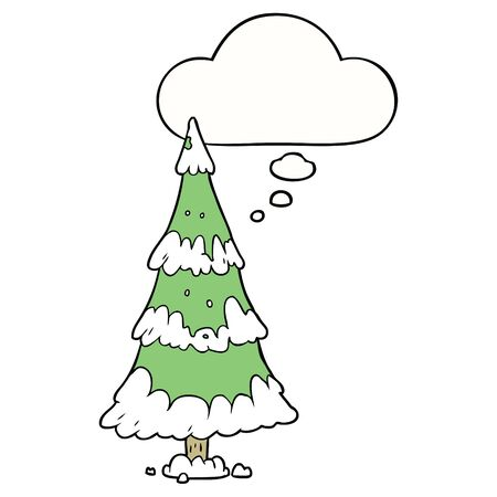 cartoon christmas tree with thought bubble