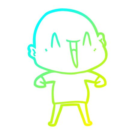 cold gradient line drawing of a happy cartoon bald man