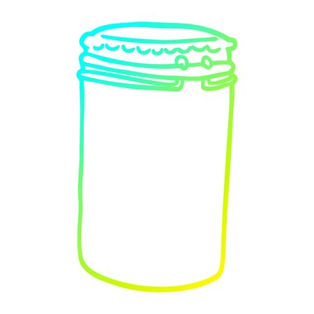 cold gradient line drawing of a cartoon storage jar