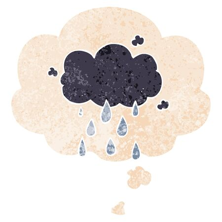 cartoon cloud raining with thought bubble in grunge distressed retro textured style