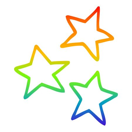 rainbow gradient line drawing of a cartoon stars  イラスト・ベクター素材
