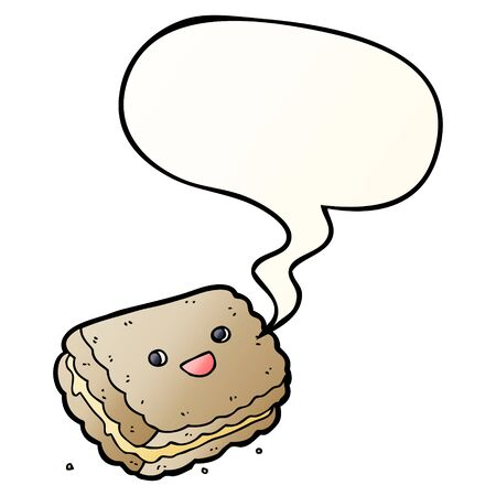 cartoon biscuit with speech bubble in smooth gradient style