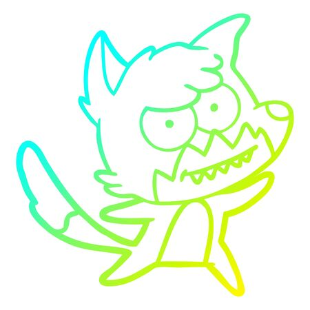 cold gradient line drawing of a cartoon grinning fox