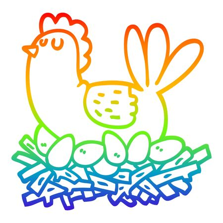 rainbow gradient line drawing of a cartoon chicken on nest of eggs Illustration