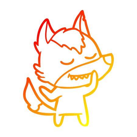 warm gradient line drawing of a friendly cartoon wolf
