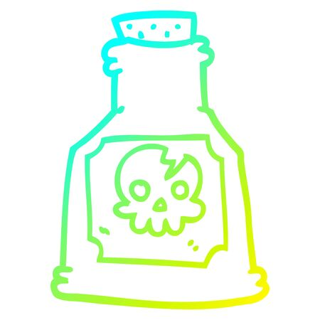 cold gradient line drawing of a cartoon poison in a bottle  イラスト・ベクター素材