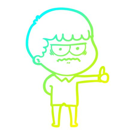 cold gradient line drawing of a cartoon annoyed man Vetores