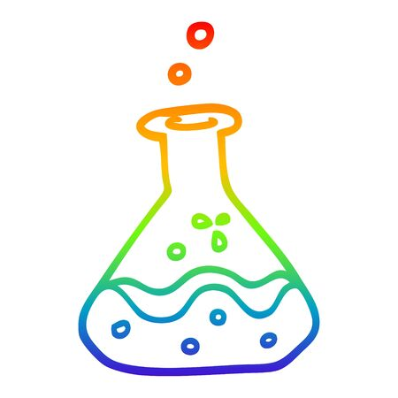 rainbow gradient line drawing of a cartoon chemical bottles  イラスト・ベクター素材
