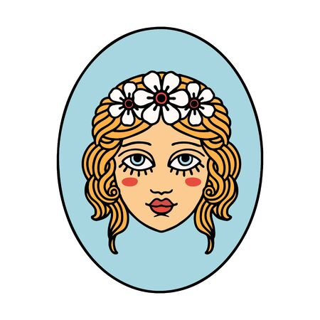 tattoo in traditional style of a maiden with flowers in her hair