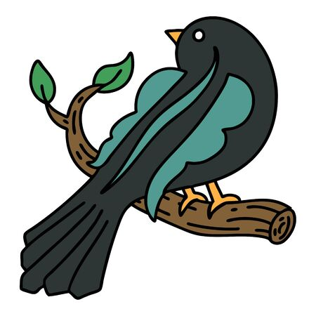 tattoo in traditional style of a bird on a branch