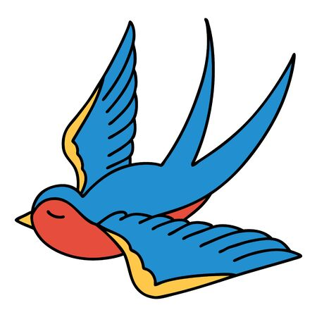 tattoo in traditional style of a swallow Vector Illustratie