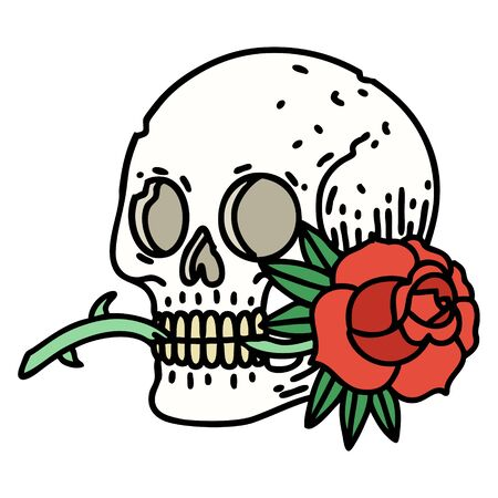 tattoo in traditional style of a skull and rose