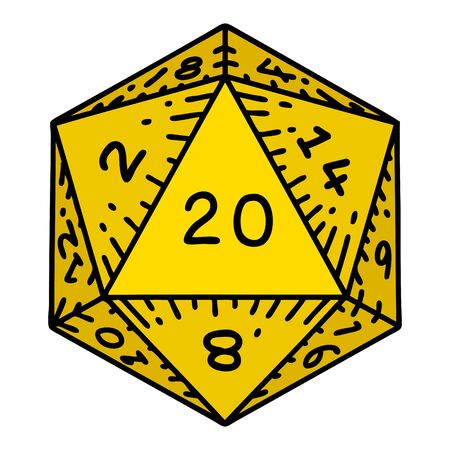 tattoo in traditional style of a d20 dice
