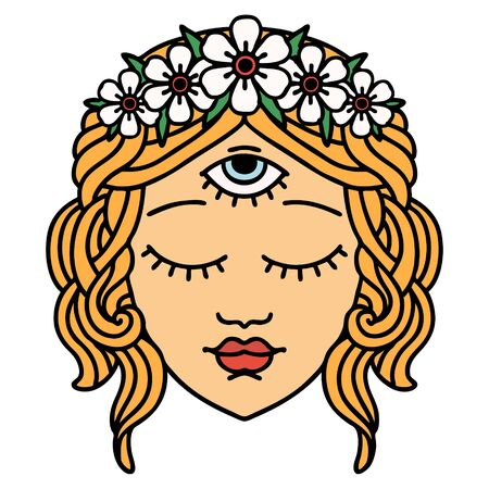 tattoo in traditional style of female face with third eye and crown of flowers