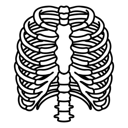 tattoo in black line style of a rib cage