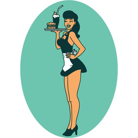 tattoo in traditional style of a pinup waitress girl