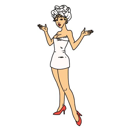 tattoo in traditional style of a pinup girl in towels Vecteurs