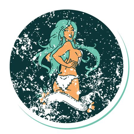 distressed sticker tattoo in traditional style of a pinup viking girl with banner Ilustração