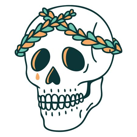 iconic tattoo style image of a skull with laurel wreath crown