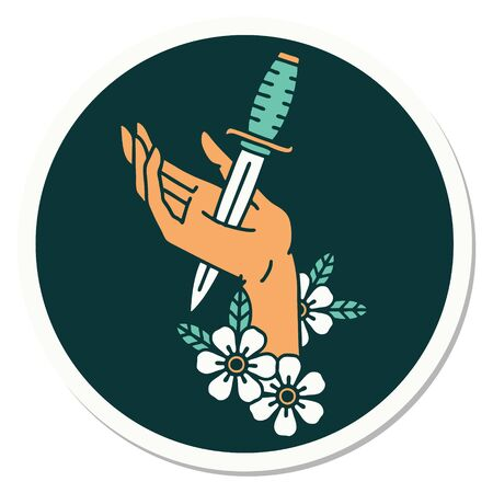 sticker of tattoo in traditional style of a dagger in the hand Illustration