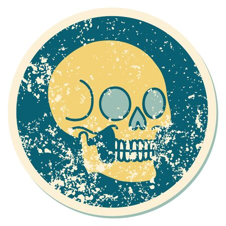 iconic distressed sticker tattoo style image of a skull