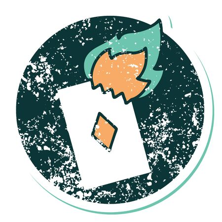 iconic distressed sticker tattoo style image of a flaming card Vector Illustratie