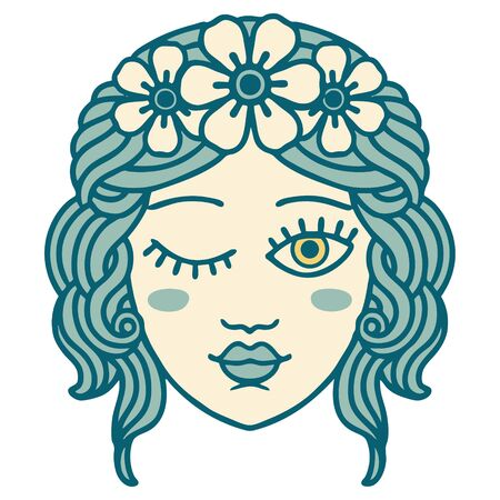iconic tattoo style image of a maidens face winking