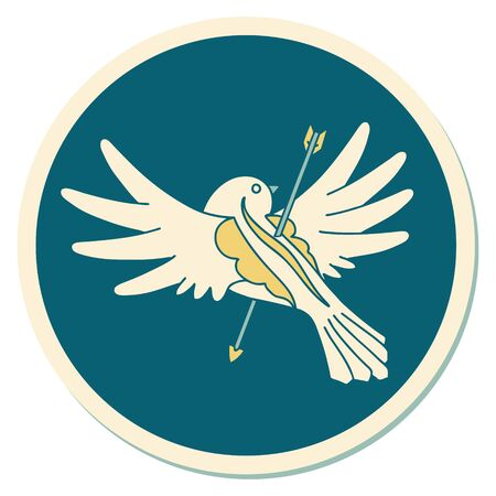 sticker of tattoo in traditional style of a dove pierced with arrow