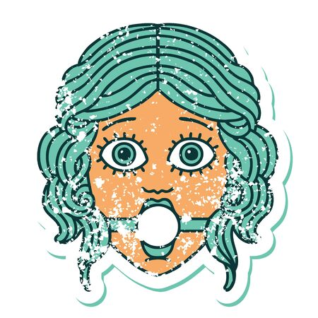 iconic distressed sticker tattoo style image of female face wearing a ball gag