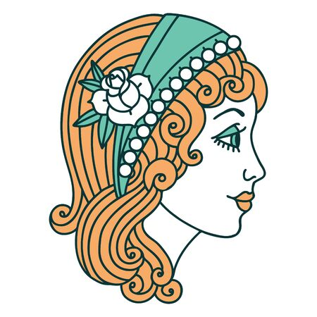 iconic tattoo style image of a gypsy head