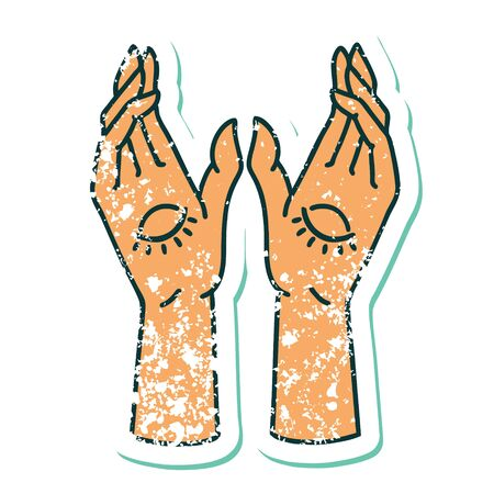 iconic distressed sticker tattoo style image of mystic hands