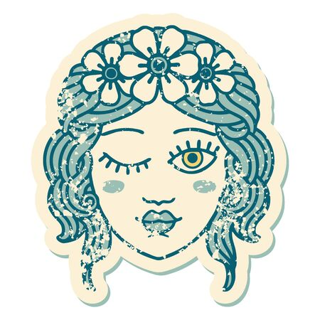 iconic distressed sticker tattoo style image of a maidens face winking