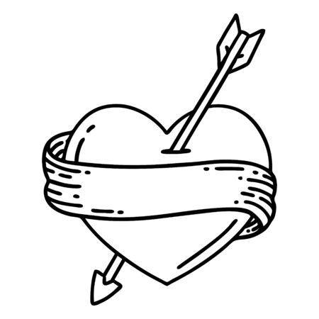 tattoo in black line style of an arrow heart and banner