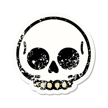 distressed sticker tattoo in traditional style of a skull Ilustração