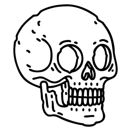 tattoo in black line style of a skull Ilustrace