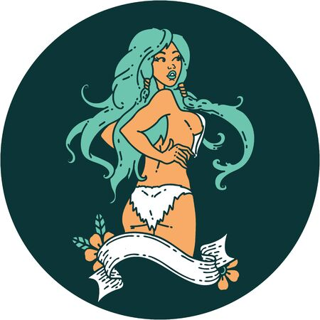 tattoo in traditional style of a pinup viking girl with banner