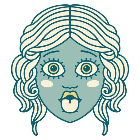 iconic tattoo style image of female face sticking out tongue