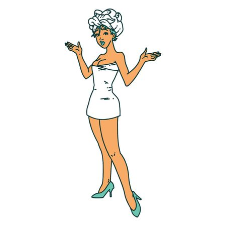 tattoo in traditional style of a pinup girl in towels Vectores
