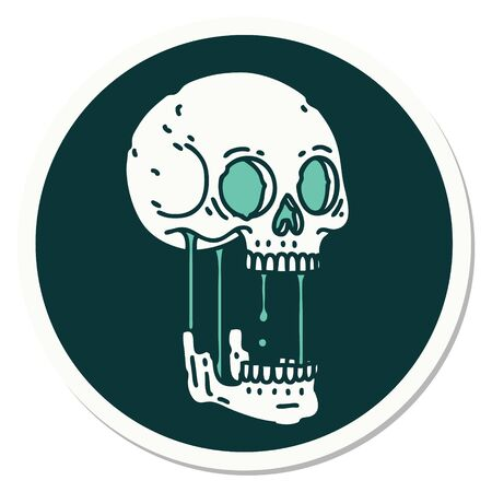sticker of tattoo in traditional style of a skull