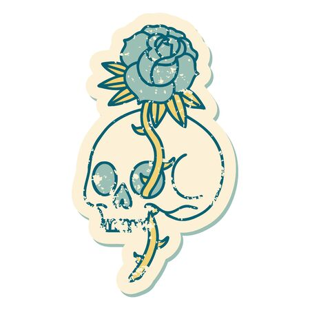 iconic distressed sticker tattoo style image of a skull and rose Ilustrace