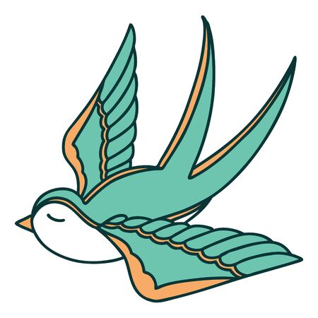 iconic tattoo style image of a swallow Vecteurs