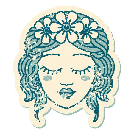iconic distressed sticker tattoo style image of female face with eyes closed