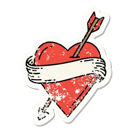 distressed sticker tattoo in traditional style of an arrow heart and banner Illustration