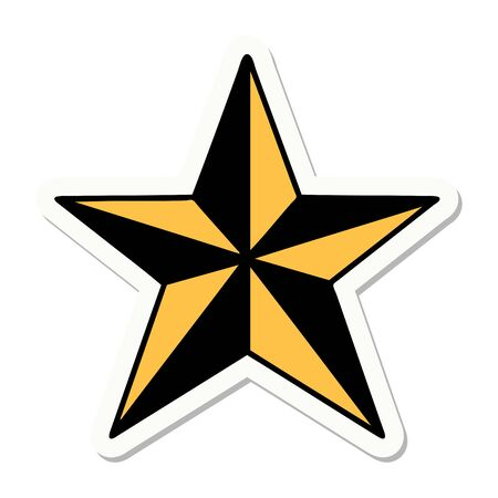 sticker of tattoo in traditional style of a star Vector Illustratie