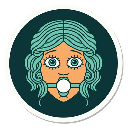 sticker of tattoo in traditional style of female face wearing a ball gag