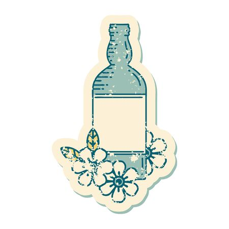 iconic distressed sticker tattoo style image of a rum bottle and flowers Ilustracja
