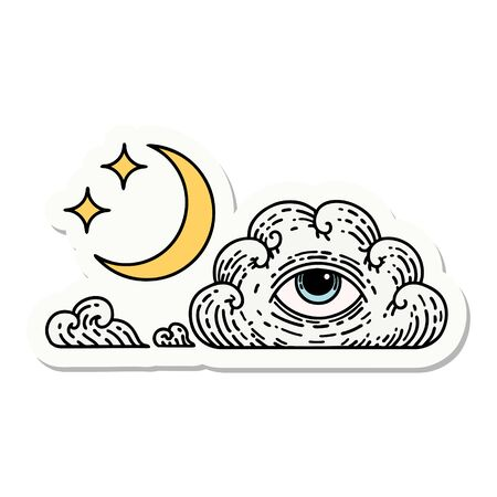 sticker of tattoo in traditional style of moon stars and cloud Ilustração