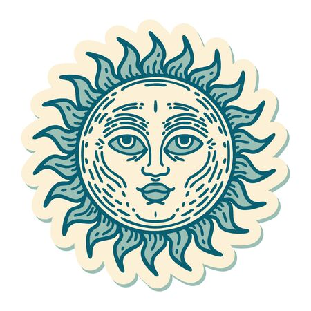 sticker of tattoo in traditional style of a sun with face